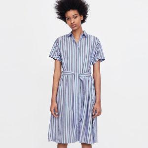 NWT Zara Striped Shirt Dress With Belt